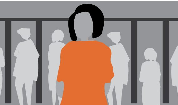 illustration of woman in front of prison bars